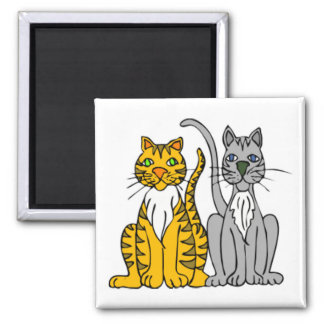 2 Funny Cartoon Alley Cats with Whiskers Fridge Magnets