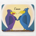 2 funny love birds in front of a full moon. mouse pad