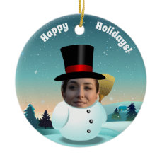 2 Funny Snowmen Customized With Your Own Photos Ceramic Ornament