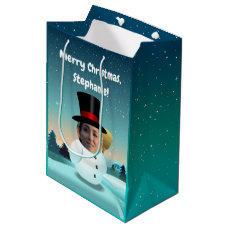 2 Funny Snowmen Customized With Your Own Photos Medium Gift Bag