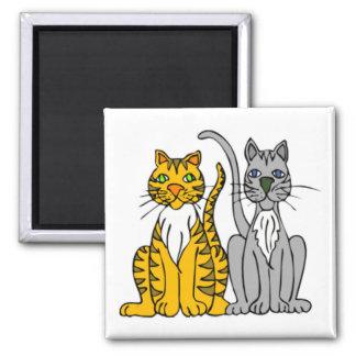 2 gatos callejeros divertidos del dibujo animado c imán cuadrado