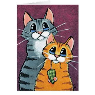 2 gatos de Tabby con el ejemplo del ratón del Tarjeta De Felicitación