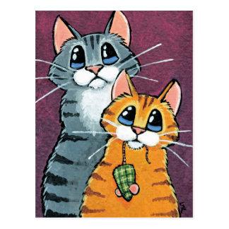 2 gatos de Tabby con el ejemplo del ratón del Tarjeta Postal