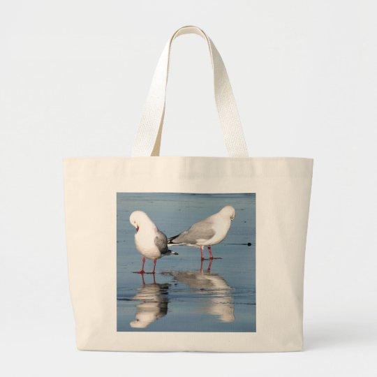 2 gaviotas en una playa bolsa de tela grande