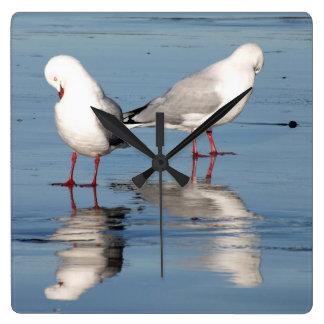 2 gaviotas en una playa reloj cuadrado