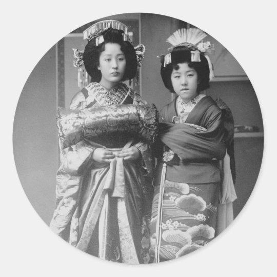 2 Geisha Girls Vintage Japanese Photo Classic Round Sticker