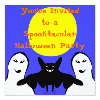 2 Ghosts and a Bat halloween Invitations