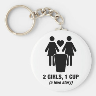 2 girls one cup - 2girls1cup - funny tee keychains