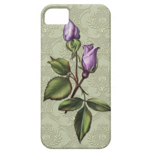 #2 Girly iPhone5 Purple Rosebuds Green Damask iPhone 5 Cover