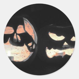 2 Glowing Jack-O-Lanterns Classic Round Sticker