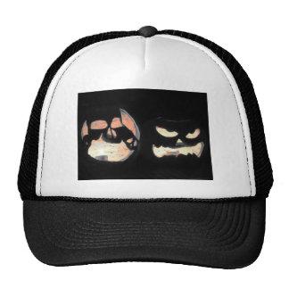 2 Glowing Jack-O-Lanterns Mesh Hats