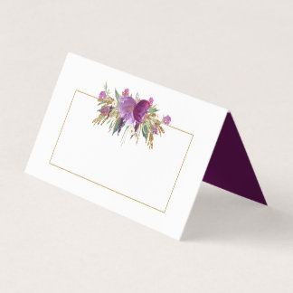 #2 Gold Purple Amethyst Wildflowers Place Cards