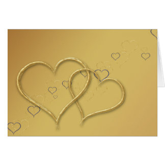 2 Golden Hearts - Greeting Card