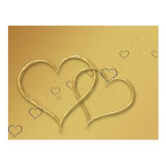 2 Golden Hearts - Postcard