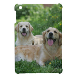 2 Golden Retrievers Laying in Grass iPad Mini Cover