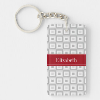 2 Gray Concentric Square Cranberry Name Monogram Keychain