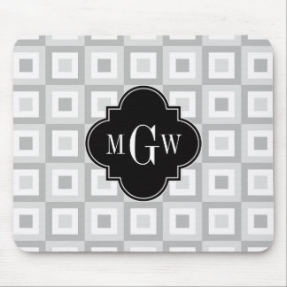 2 Gray Wht Conc Square Black Quatrefoil 3 Monogram Mouse Pad