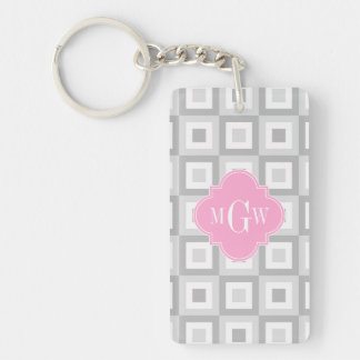 2 Gray Wht Conc Square Pink Quatrefoil 3 Monogram Keychain