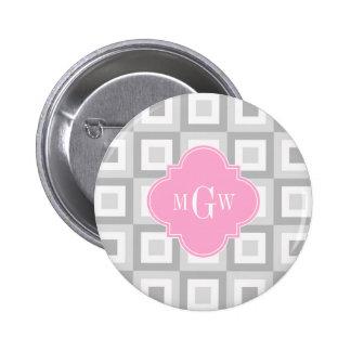 2 Gray Wht Conc Square Pink Quatrefoil 3 Monogram Pinback Button