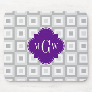 2 Gray Wht Conc Square Purpl Quatrefoil 3 Monogram Mouse Pad