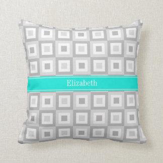 2 Gray Wht Concentric Square Aqua Name Monogram Throw Pillow