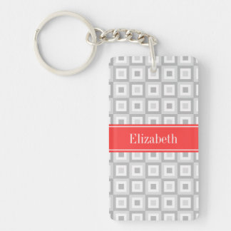 2 Gray Wht Concentric Square Coral Name Monogram Keychain