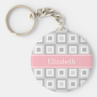 2 Gray Wht Concentric Square Pink Name Monogram Basic Round Button Keychain