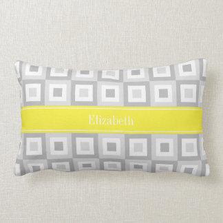 2 Gray Wht Concentric Square Yellow Name Monogram Lumbar Pillow
