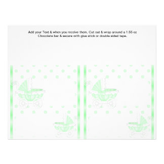 2 Green Baby Shower Favor Custom Candy Bar Wrapper Full Color Flyer