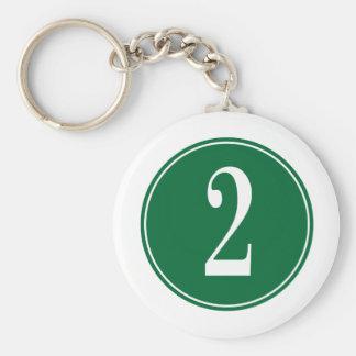2 Green Circle Key Chain