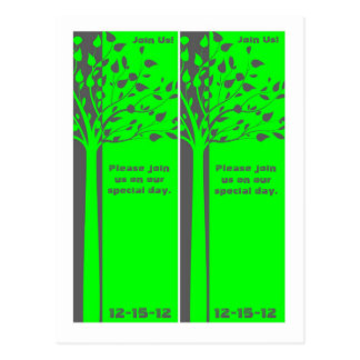 2 Grey/Neon Green Tree Bookmarks Save the Date Postcard