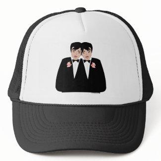 2 Grooms Black Hair hat