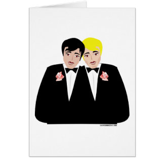 2 Grooms (Blonde and Black Hair) Greeting Card