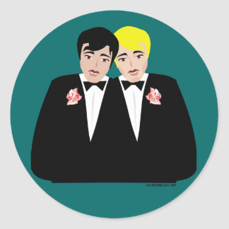 2 Grooms (Blonde and Black Hair) Classic Round Sticker