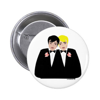 2 Grooms (Blonde and Black Hair) Pinback Button