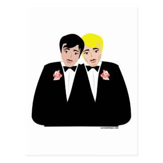 2 Grooms (Blonde and Black Hair) Postcard