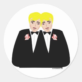 2 Grooms Blonde Round Stickers