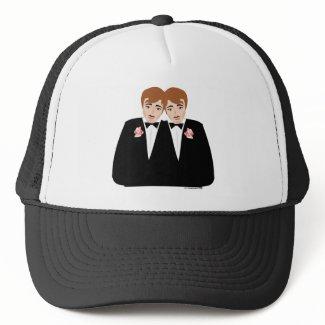 2 Grooms Brown Hair hat