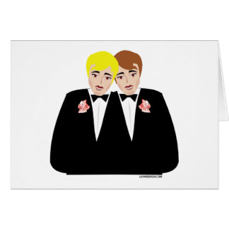 2 Grooms (Brown-Haired and Blonde) Greeting Card