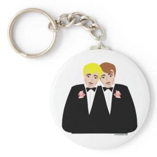 2 Grooms (Brown-Haired and Blonde) keychain
