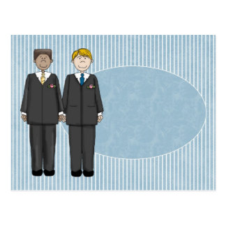 2 Grooms Customizable Blue Oval Card