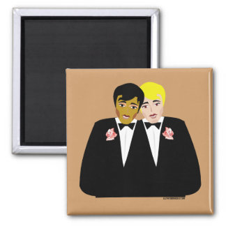 2 Grooms (Ethnic and Blonde) 2 Inch Square Magnet