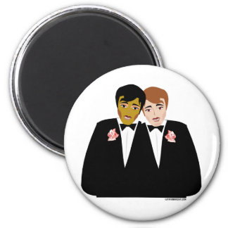 2 Grooms (Ethnic and Brown-Haired) 2 Inch Round Magnet