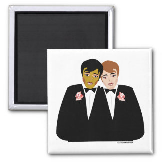 2 Grooms (Ethnic and Brown-Haired) Refrigerator Magnets