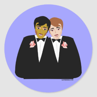 2 Grooms (Ethnic and Brown-Haired) Round Sticker
