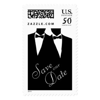 2 Grooms Gay Save the Date Postage Stamp