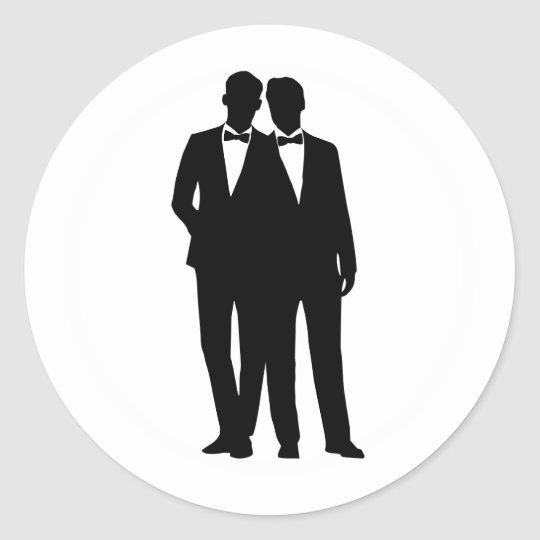 lesbian wedding coloring pages | 2 Grooms Silhouette Gay Couple Wedding Stickers | Zazzle.com