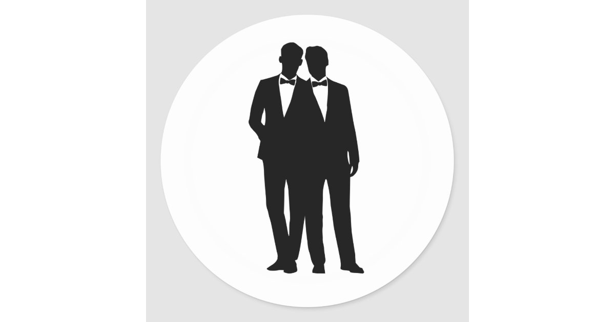 2 Grooms Silhouette Gay Couple Wedding Stickers Zazzle Com