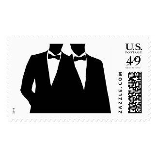 2 Grooms Silhouette Gay Wedding Postage Stamp