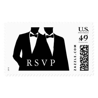2 Grooms Silhouette Gay Wedding RSVP Postage Stamp